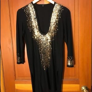 Black dress with gold accents